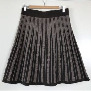 Mossimo Sweater Skirt M Brown Stripes Wool Blend